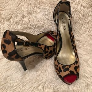 Leopard print 4 or 5 inch heels with slingback